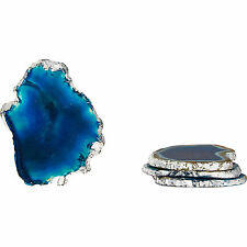 Set of 4 Silver Blue Real Agate Coasters Set Luxury Stone Kitchen Decor