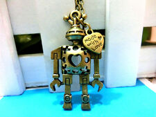 Vintage ROBOT made with love hollow bronze handmade chain necklace pendant.
