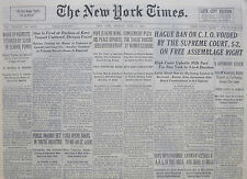 6-1939 WWII June 6 HAGUE BAN ON C.I.O VOIDED BY THE SUPREME COURT 5-2 ON FREE