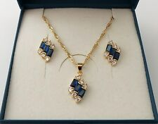 18ct Gold Plated Blue Baguette Cut CZ Earrings and Pendant Necklace Set.