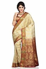 Off White and Maroon Traditional Art Kanchipuram Silk Saree with Blouse