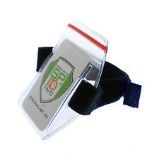 Armband ID Badge Holder with Ziplock Seal -Waterproof Zip Top & Blue Arm Band