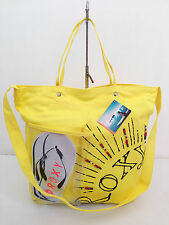 LOW BID! BNWT Authentic ROXY Getaway Canvas Beach Tote Bag Beaded Yellow