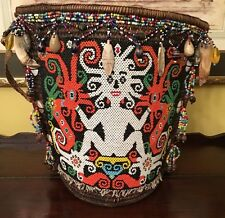 VINTAGE DAYAK COLORFUL BEADED BABY CARRIER BASKET