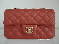NWT AUTH CHANEL New Mini Classic Flap 15C Orange red caviar antique gold HW