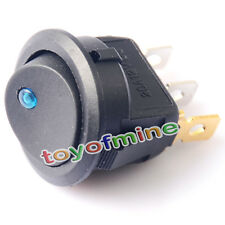 12V LED Interrupteur A Bascule Bipolaire ON/OFF SPST Rocker ronde Dash Auto bleu