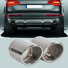 2PCS CHROME EXHAUST TAIL MUFFLER TIP PIPE for Audi Q7 3.0 TDI TFSI 2006-2013