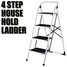 Multi Purpose 4 Step Steps Ladder Domestic Household Office Foldable Steel Frame