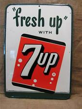 Vintage Huge Embossed Metal 7up Sign   Antique Old Cola Soda Pop Store 7779
