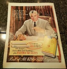 "1952 Fatima Cigarettes Vintage Magazine Ad ""Best of all king size cigarettes"""