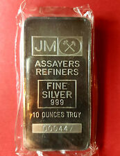 VINTAGE TD 10 oz JOHNSON MATTHEY JM SILVER BAR VERY RARE