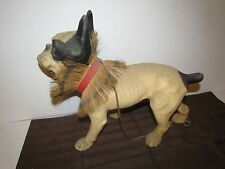 VINTAGE FRENCH BULLDOG ANTIQUE TOY PULL TOY GROWLER NODDING HEAD PAPER MACHE