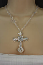Women Metal Necklace Silver Chain Big Cross Pendant Fashion Jewelry Charm Beads