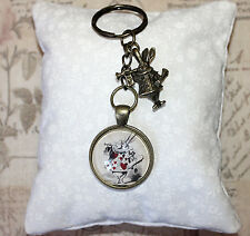 Alice in Wonderland bronze keyring white rabbit & glass illustration charms