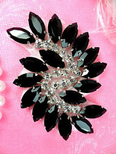 JB234 Marquise Crystal Glass Rhinestone Applique Black Sewing Craft Supplies