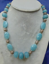 BEADED PARROT AWESOME FACETED ANGELITE AND BALI .925 STERLING SILVER NECKLACE
