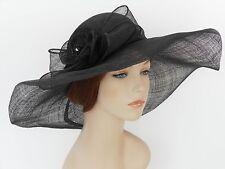 New Church Kentucky Derby Wedding Sinamay Wide Brim Dress Hat SDL-006 Black