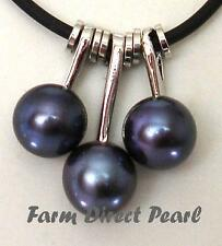 "Genuine Peacock Black Pearl Pendant Necklace 18"" Inch Cultured Freshwater"