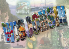 Postcard Wisconsin Big Letters Scenic Places America's Dairyland MINT