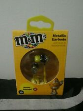 New m&m's earbuds or Headphones with microphone sweet sounds, metallic yellow