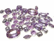 50pcs ASSTD  LILAC SEW ON Acrylic Silver Set Crystals Diamante MONTEES Gems