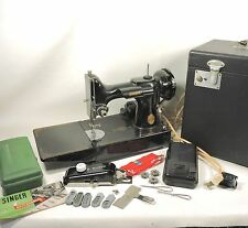 1947 Singer Featherweight 221 Sewing Machine, Case, Buttonhole Attachment