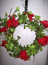 """18"""" Floral Wreath with Red and White Flowers"""