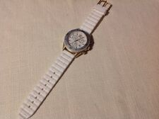 Women's  TIMEX T2N827 Chronograph Quartz Wrist Watch White Silicone Strap