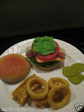 REALISTIC FAKE PRETEND PLAY FOOD MTC PROP ● BACON CHEESE BURGER ONION RING FRIES