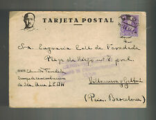 1939 Leon Spain Concentration camp postcard cover to Barcelona Eduardo Foradada
