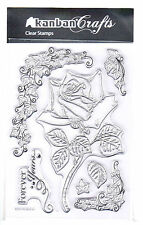 Kanban Clear Acrylic A6 Stamp - 'Rose & Ivy' 902210  - RRP £5.25