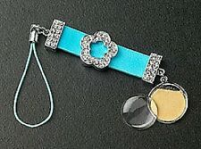 Blue Leather Crystals Flower Silver Dangle Photo Cell Phone Charm Free Shipping