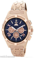 Aqua Master Men's Navy Dial Rose Gold Diamond Chronograph Watch W#348
