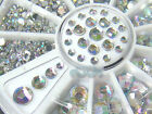 S112A-4 Sizes 500 pcs Nail Art Tips Crystal Glitter Rhinestone Decoration+Wheel