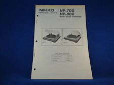 Nikko NP-700 NP-800 Turntable Service Manual