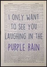 'Purple Rain' Prince Lyrics Vintage Dictionary Wall Art Print Picture Legend