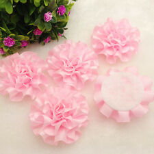 5PCS new satin ribbon Peony Flower Appliques/craft/Wedding decoration,pink)