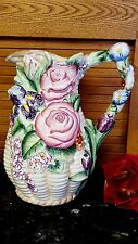 BIG Porcelain HP Pitcher Vase 3 Dimensional IRIS, ROSES+ More FLOWERS NEW!