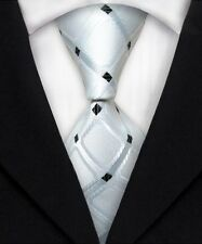 New Men's 100% Silk JACQUARD WOVEN Suits Tie White Black Plaids Neckties F149