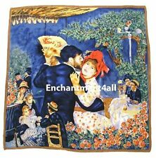 "Handmade 35""x35"" 100% Pure Silk Art Scarf Wrap w Renoir's ""Dance In The Country"""