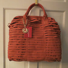 Stunning Charles Jourdan Beverly Open Lattice Leather Purse w/Strap –Coral $390