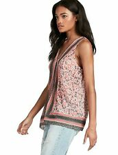 Lucky Brand - XS - NWT $89 - Red Border Scarf Print Georgette Viscose Tank Top