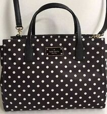 NWT Kate Spade small Loden Blake Avenue Nylon handbag Black White Polka dots