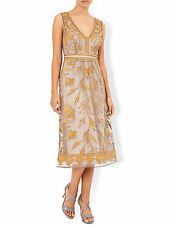 New MONSOON Tawny Gold Lace Embroidered Ocasion Cocktail Midi Dress Size 14 £159