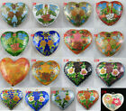 1pcs Cloisonne Enamel Heart Spacers/Charms 17style-1 40-55mm O80