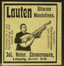 Laute,Gitarre,Mandoline,Jul.Heinr. Zimmermann Leipzig,kleine orig.Anzeige 1914