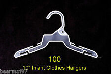 "100 Retail Store Shirt Clothes Hangers 10"" [25cm] Plastic Infant Baby 0-24 Month"