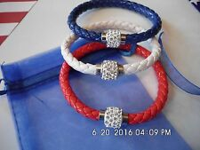 Patriotic Memorial Day 4th of July USA  3 Pc Red White & Blue Bracelet Set Bling