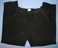Coldwater Creek Womens Black Suede Leather Pants Sz 12 Lined Side Zip Flat Front