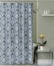 Blue White Floral Damask Fabric Shower Curtain with hooks